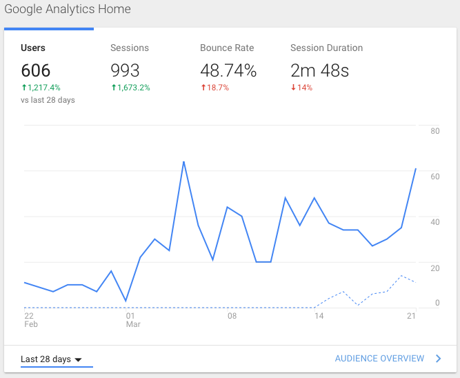 Graph of Google Analytics